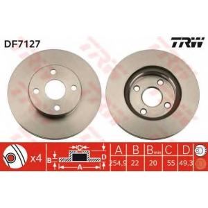 Тормозной диск df7127 trw - TOYOTA COROLLA универсал (_E12J_, _E12T_) универсал 1.8
