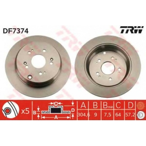 TRW DF7374 Тормозной диск