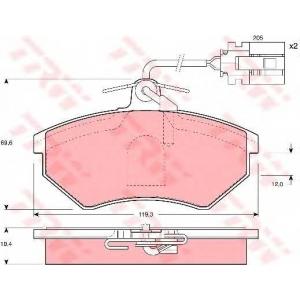 TRW GDB1057 Комплект тормозных колодок, дисковый тормоз