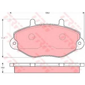 Комплект тормозных колодок, дисковый тормоз gdb1080 trw - FORD TRANSIT автобус (T_ _) автобус 2.5 D (TBS, TEL, TES)
