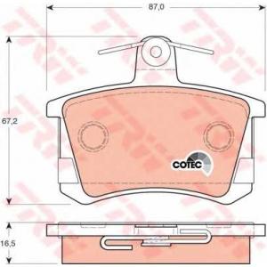 Комплект тормозных колодок, дисковый тормоз gdb1163 trw - AUDI 80 (81, 85, B2) седан 1.8 CC quattro (85Q)