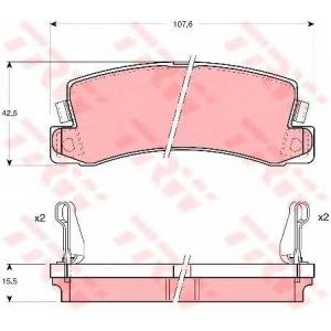 Комплект тормозных колодок, дисковый тормоз gdb1168 trw - TOYOTA CARINA II (_T15_) Наклонная задняя часть 1.6 (AT151)