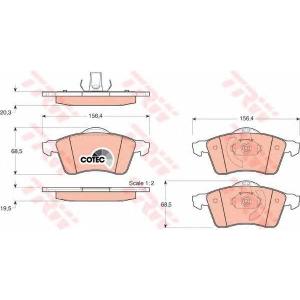 Комплект тормозных колодок, дисковый тормоз gdb1282 trw - VW TRANSPORTER IV автобус (70XB, 70XC, 7DB, 7DW) автобус 2.4 D Syncro