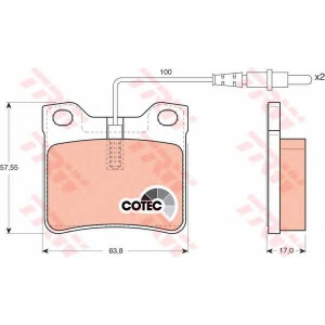 Комплект тормозных колодок, дисковый тормоз gdb1289 trw - MERCEDES-BENZ VITO автобус (638) автобус 108 D 2.3 (638.164)