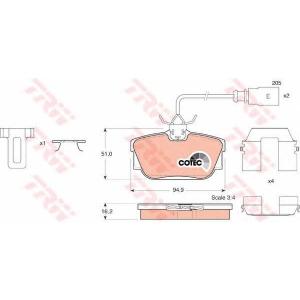 Комплект тормозных колодок, дисковый тормоз gdb1326 trw - VW TRANSPORTER IV автобус (70XB, 70XC, 7DB, 7DW) автобус 2.4 D Syncro