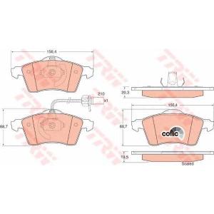 Комплект тормозных колодок, дисковый тормоз gdb1391 trw - VW TRANSPORTER IV автобус (70XB, 70XC, 7DB, 7DW) автобус 2.4 D Syncro