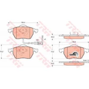 Комплект тормозных колодок, дисковый тормоз gdb1403 trw - AUDI A3 (8L1) Наклонная задняя часть 1.8 T