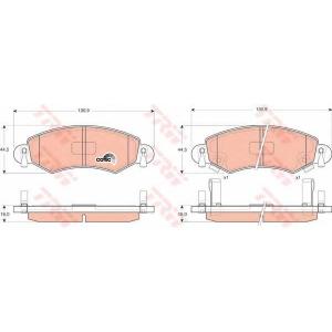 Комплект тормозных колодок, дисковый тормоз gdb1420 trw - OPEL AGILA (A) (H00) Наклонная задняя часть 1.0 12V