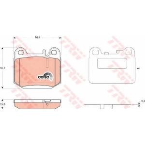 Комплект тормозных колодок, дисковый тормоз gdb1457 trw - MERCEDES-BENZ M-CLASS (W163) вездеход закрытый ML 320 (163.154)