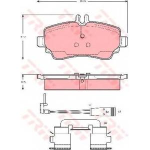 Комплект тормозных колодок, дисковый тормоз gdb1480 trw - MERCEDES-BENZ VANEO (414) вэн 1.7 CDI (414.700)