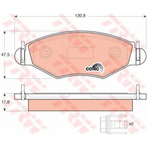 Комплект тормозных колодок, дисковый тормоз gdb1500 trw - PEUGEOT 206+ (T3E) Наклонная задняя часть 1.4 i