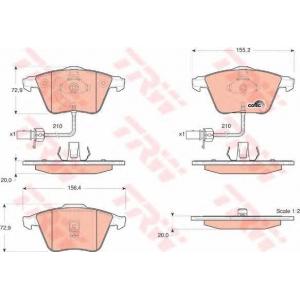 Комплект тормозных колодок, дисковый тормоз gdb1528 trw - AUDI A6 (4B, C5) седан 1.8 T