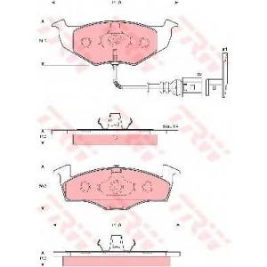 Комплект тормозных колодок, дисковый тормоз gdb1586 trw - SKODA FABIA Наклонная задняя часть 1.2 12V