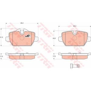 Комплект тормозных колодок, дисковый тормоз gdb1612 trw - MINI MINI COUNTRYMAN (R60) Наклонная задняя часть Cooper S ALL4