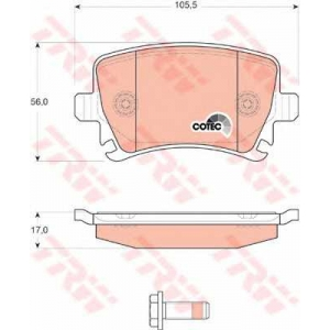 Комплект тормозных колодок, дисковый тормоз gdb1622 trw - VW PASSAT (362) седан 1.4 TSI