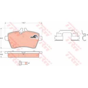 Комплект тормозных колодок, дисковый тормоз gdb1630 trw - MERCEDES-BENZ A-CLASS (W169) Наклонная задняя часть A 200 CDI (169.308)