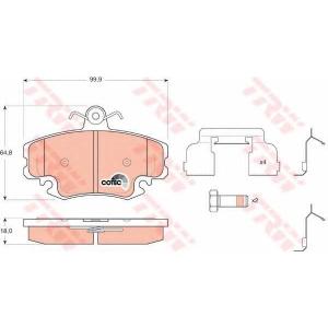 Комплект тормозных колодок, дисковый тормоз gdb1634 trw - DACIA LOGAN (LS_) седан 1.4 MPI LPG (LS0C)