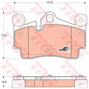 Комплект тормозных колодок, дисковый тормоз gdb1653 trw - AUDI Q7 (4L) вездеход закрытый 3.0 TDI