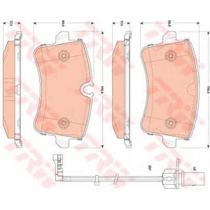 Комплект тормозных колодок, дисковый тормоз gdb1866 trw - AUDI A8 (4H_) седан 6.3 W12 quattro