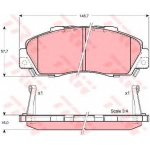Комплект тормозных колодок, дисковый тормоз gdb3177 trw - HONDA PRELUDE V (BB) купе 2.2 16V (BB6, BB8)