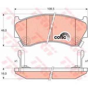 Комплект тормозных колодок, дисковый тормоз gdb3180 trw - NISSAN ALMERA I Hatchback (N15) Наклонная задняя часть 1.4 S,GX,LX