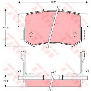 Комплект тормозных колодок, дисковый тормоз gdb3191 trw - HONDA ACCORD VII купе (CG) купе 2.0 i 16V