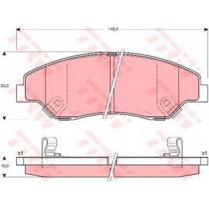 Комплект тормозных колодок, дисковый тормоз gdb3241 trw - KIA SPORTAGE (K00) вездеход закрытый 2.0 i 4WD