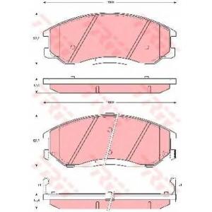 Комплект тормозных колодок, дисковый тормоз gdb3244 trw - HYUNDAI SANTA F? I (SM) вездеход закрытый 2.7 4x4