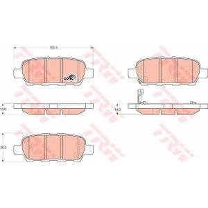 Комплект тормозных колодок, дисковый тормоз gdb3294 trw - NISSAN X-TRAIL (T31) вездеход закрытый 2.0 dCi FWD