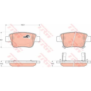 Комплект тормозных колодок, дисковый тормоз gdb3337 trw - TOYOTA AVENSIS универсал (T25) универсал 2.0 VVTi