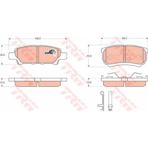 Комплект тормозных колодок, дисковый тормоз gdb3341 trw - MITSUBISHI LANCER седан (CY/Z_A) седан 1.6