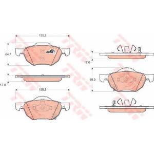 Комплект тормозных колодок, дисковый тормоз gdb3355 trw - HONDA ACCORD EURO VIII седан (CL) седан 2.4 (CL9)