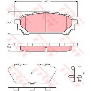 Комплект тормозных колодок, дисковый тормоз gdb3395 trw - SUBARU IMPREZA универсал (GD, GG) универсал 2.0