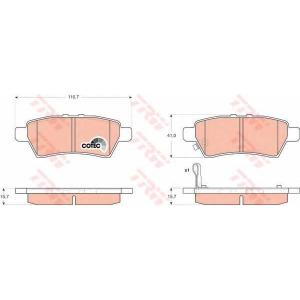 Комплект тормозных колодок, дисковый тормоз gdb3405 trw - NISSAN NAVARA (D40) пикап 3.0 dCi 4WD