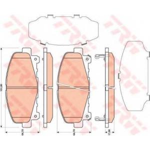 Комплект тормозных колодок, дисковый тормоз gdb3477 trw - HONDA ACCORD IX (CU) седан 2.0 i