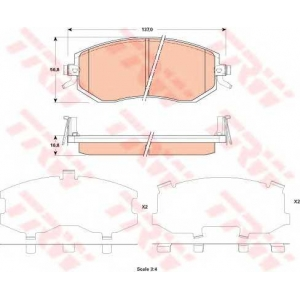 Комплект тормозных колодок, дисковый тормоз gdb3519 trw - SUBARU IMPREZA седан (GR) седан 1.5