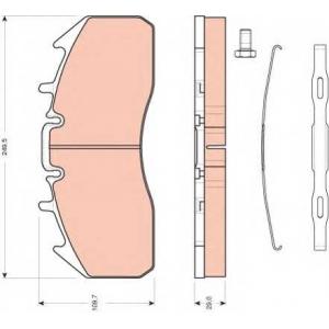 Комплект тормозных колодок, дисковый тормоз gdb5096 trw - VOLVO FM 10  FM 10/320