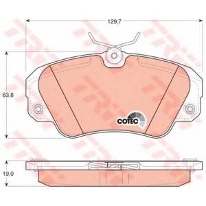 Комплект тормозных колодок, дисковый тормоз gdb957 trw - OPEL OMEGA A (16_, 17_, 19_) седан 2.6 i