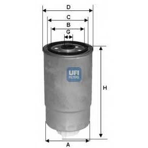 UFI 24.H2O.04 Фильтр топливный Doblo 1.9JTD (M16x1.5 d=87.5mm h=171mm)
