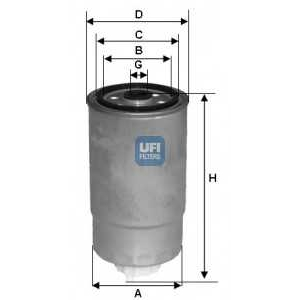 UFI 24.H2O.05 Фильтр топл. Jumper/Boxer DW10/DW12/8140.43 11/02->12/04 (M16x1.5 d=85mm h=171mm
