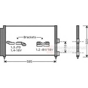 VAN WEZEL 17005289 Радіатор кондиціонера Fiat Doblo 1.3-1.9 JTD 01-
