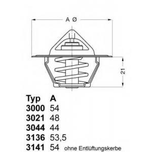 Термостат, охлаждающая жидкость 313688d50 wahler - RENAULT 21 седан (L48_) седан 1.7 (L48M, L48F)