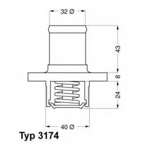Термостат, охлаждающая жидкость 317489d wahler - RENAULT CLIO I (B/C57_, 5/357_) Наклонная задняя часть 1.2 (5/357Y, 5/357K)