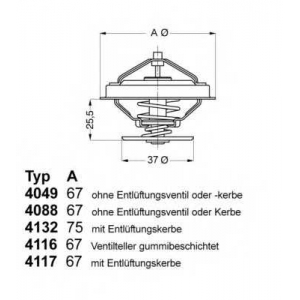 Термостат, охлаждающая жидкость 408887d wahler - AUDI 200 (43) седан 2.1 5 T