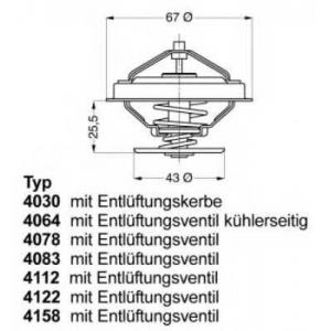 Термостат, охлаждающая жидкость 412287d wahler - RENAULT 18 Variable (135_) универсал 2.0 (1353)