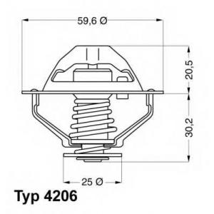 Термостат, охлаждающая жидкость 420690d wahler - VOLVO S80 (TS, XY) седан 2.9
