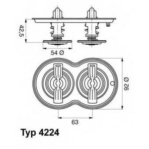 Термостат, охлаждающая жидкость 422480d wahler - SCANIA 4 - series  94 D/220