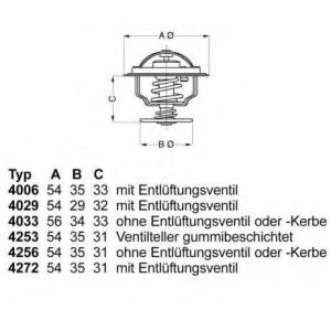 Термостат, охлаждающая жидкость 425387d wahler - AUDI 80 (81, 85, B2) седан 1.6 D