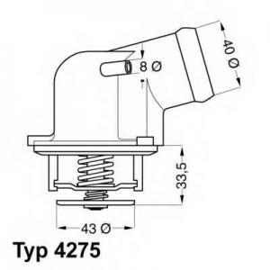 Термостат, охлаждающая жидкость 427587d wahler - MERCEDES-BENZ E-CLASS (W124) седан E 200 (124.019)