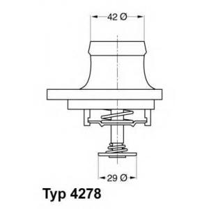 Термостат, охлаждающая жидкость 427880d wahler - MERCEDES-BENZ E-CLASS (W124) седан E 420 (124.034)